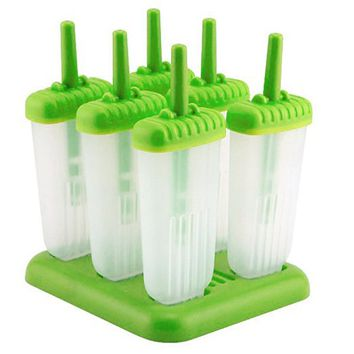 6 Popsicle Molds - Ice Pop Maker Set with Tray and Drip Guard, BPA Free, Green - By Chuzy Chef®