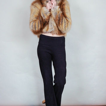Foxy lady - Faux fur cropped jacket with fox or other prints