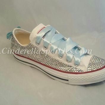 White Chuck Taylor Low Crystal Rhinestone Converse with sequin bow - Bridal Prom Roman