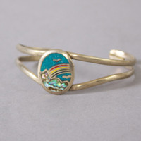 70s RAINBOW SIlver CUFF / 1970s Turquoise and Abalone Inlay Silver Boho Bracelet
