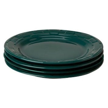 Longaberger Woven Traditions® Pottery Dinnerware 4 Dinner Plates TEAL NEW / RTS