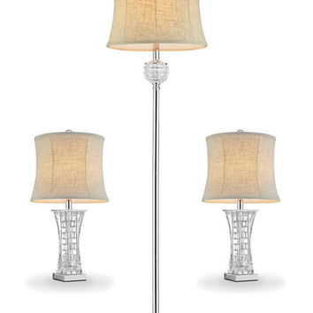 L9722-3PK 3 pc pack Silver chrome finish metal and glass crystal floor and table lamp set with collapsible sheer shades