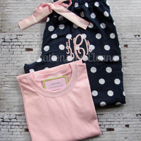 Monogrammed Pajama Pants with T-shirt
