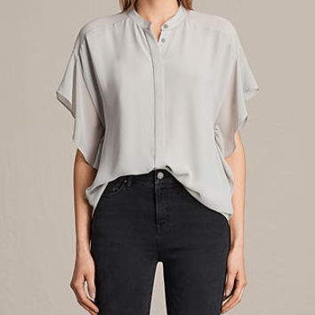 ALLSAINTS US: Womens Mila Sheer Shirt (Stone Grey)