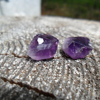 Raw Amethyst Quartz Stud Earrings