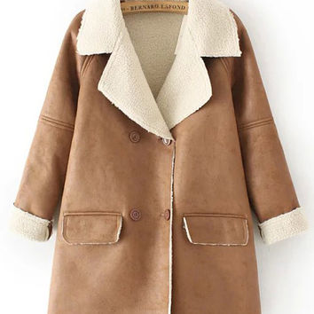 Khaki Double Breasted Flap Pockets Suede Coat