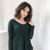 ALLISON CROCHET TRIM THERMAL TOP- HUNTER GREEN