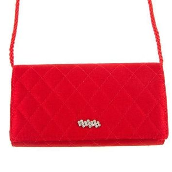Red Quilted Diamond Pattern Rhinestone Accent Mini Shoulder Bag