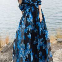 Flower Print Off-The-Shoulder High Waist Maxi Dress