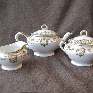 Vintage Hand Painted Nippon Tea Pot with Matching Cream and Closed Sugar - Vintage Nippon Set - Cottage Chic