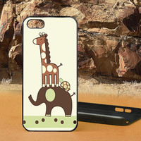 Giraffe And Elephant iPhone 5 Case Cover - iPhone Case - iPhone 4 Case - iPhone 4S Case