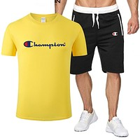 Champion Fashion New Letter Print Top And Shorts Sports Leisure Two Piece Suit Men Yellow