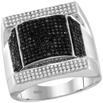 1 Center Total Weight -Diamond MICRO-PAVE BLACK RING