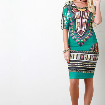 African Tribe-Inspired Elbow Sleeve Midi Dress
