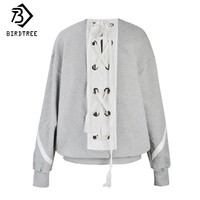 2017 Lace up Women Sweatshirts Loose Fashion Casual Solid Pullovers O-Neck Cotton Light Gray Women Clothes Sweatshirts