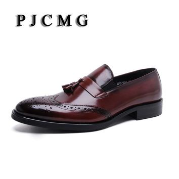 PJCMG New Breathable Black /Brown Loafers Mens Dress Genuine Leather Slip-On Wedding Mens Casual Business Shoes With Tassel