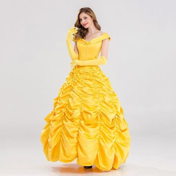 VASHEJIANG Fantasia Halloween Cosplay Adult Princess Belle Costume Long Dress Women Southern Beauty and the Beast Costume