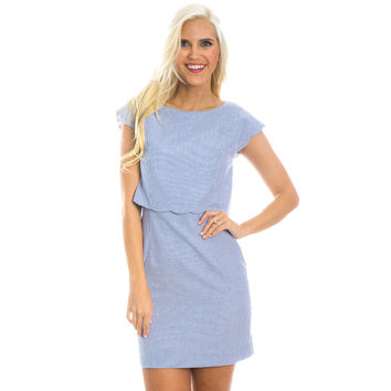 The Sullivan Seersucker Dress in Royal Blue by Lauren James - FINAL SALE