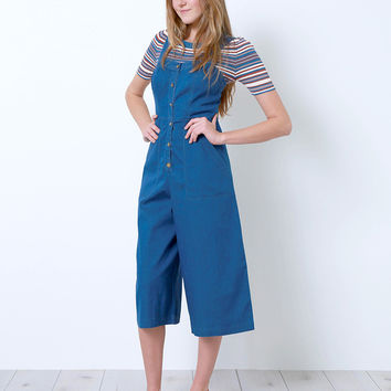 Simply Denim Cropped Jumpsuit - Blue