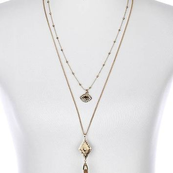 Clear The Evil Eye Double Layer Necklace And Earring Set