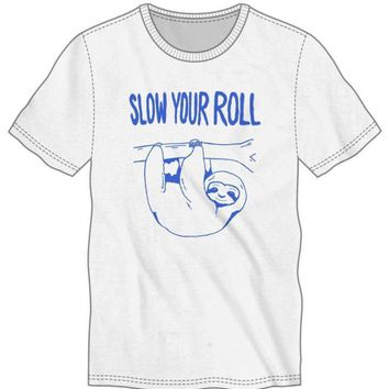 Slow Your Roll Sloth Men's White T-Shirt