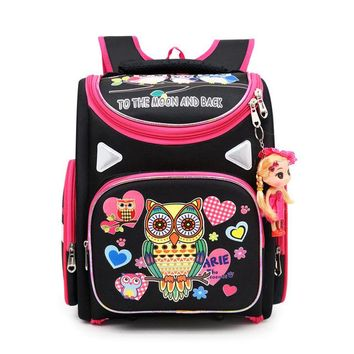 School Backpack Cartoon Owl Pattern Children's Space Backpack For School Orthopedic 3D Girl Butterfly School Bags Kids Primary s AT_48_3