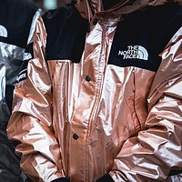 Supreme X The North Face Autumn Winter Trending Stylish Metal Color Hoodie Cardigan Jacket Coat Windbreaker Pink