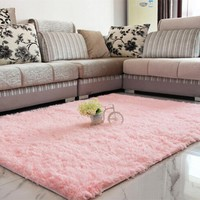 ELEGIANT Fluffy Floor Rug Anti-skid Shaggy Area Rug Dining Room Carpet Yoga Bedroom Floor Mat/Cover 80CM x 120CM,Pink color - Walmart.com