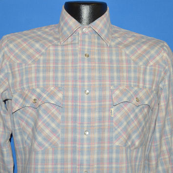 80s Levis Blue Pink Pastel Plaid Pearl Snap Western Shirt Small