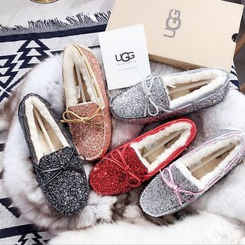 UGG Sequined bow-knot non-slip abrasion resistant rubber sole c50c78bb5