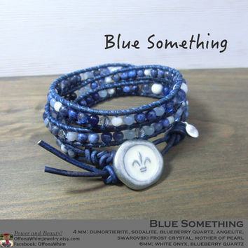 Something Blue Handmade Japanese Powerstone Leather Wrap Layer Bracelet by Off on a Whim: blues, whites and frost