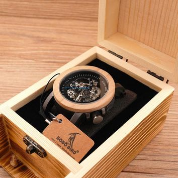 BOBO BIRD Luxury Brand Mens Mechanical Watches Maple Wood Shell With Genuine Leather Strap - Wooden Gifts Boxes
