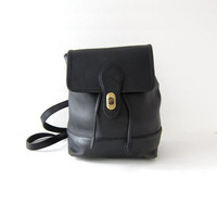 vintage 90s black leather rucksack. distressed leather backpack. shoulder bag.
