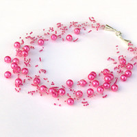 Hot Pink Necklace. Wedding Necklace. Beadwork.  Multistrand Necklace.