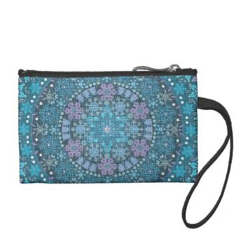 Stunning Boho Intricate Blue Snowflakes Change Purse