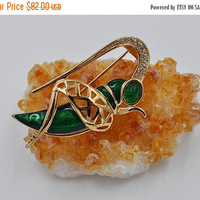 ON SALE Vintage Christian Dior Grasshopper Brooch, Gold, Green Enamel, Gripoix Glass, Insect, Figural, Original Tag, Lucky Bug! #b436
