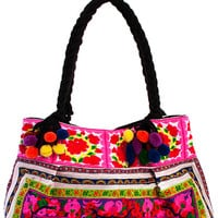 Boho Bazaar Embroidered Tote Bag