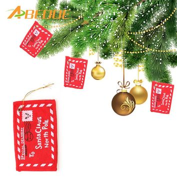 ABEDOE 6pcs Letter to Santa Claus Red Felt Envelope Christmas Tree Envelope Hanging Ornament Candy Gift Bag XMAS Decoration