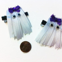 Ribbon Ghost Hair Clips, Boo Bows, Halloween Bows, Ribbon Bows, Spooky accessories, Costume accessories, Girly Hair bows, Gift ideas