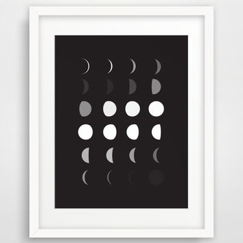 Moon Print, Moon Phases, Black and White Moon Wall Art, Moon Wall Print, Moon Calendar, Black Moon Art, Black Wall Prints, Moon Prints