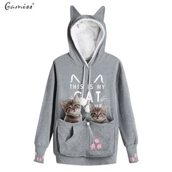 Gamiss Cat Lovers Hoodie Kangaroo Dog Pet Paw Emboridery Autumn New Pullovers Cuddle Pouch Sweatshirt Pocket Animal Ear Hooded