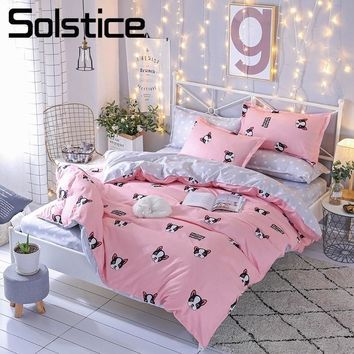 Solstice Home Textile Pink Duvet Cover Pillowcase Dot Flat Bed Sheets Cute Bulldog Bedding Sets For Girls Kids Teen Linens Queen