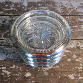 Vintage Coasters Glass Coaster Leonard Coasters Silver Plate Mad Men