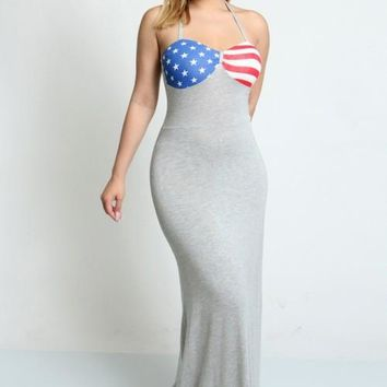 Ribbon Tie Strap Dress with American Flag