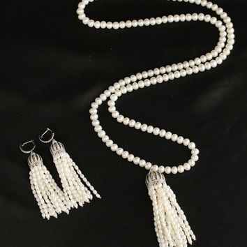 New Arrival Shiny Gift Jewelry Stylish Pearls Tassels Watermelon 925 Silver Earrings Set Necklace [4914868100]