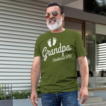 93aad358 Men's Grandpa Established 2020 Baby Feet Shirt Promotion New Baby Reveal  Cute Father's Day Gift Shirts