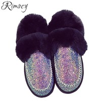 Rimocy pink glitter snow boots women 2017 winter fashion thick fur flat heels long plush winter shoes woman platform ankle boots