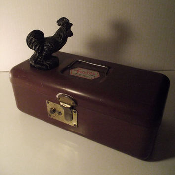Vintage Burgundy Tackle Box with Compartments by TheVintageLacy