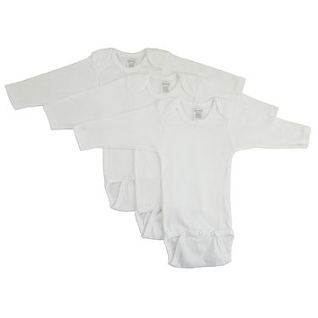 Bambini Long Sleeve White Onezie 3 Pack