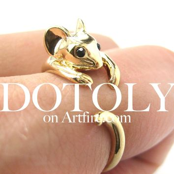 Mouse Animal Wrap Around Ring in Shiny Gold - Sizes 4 to 9 Available